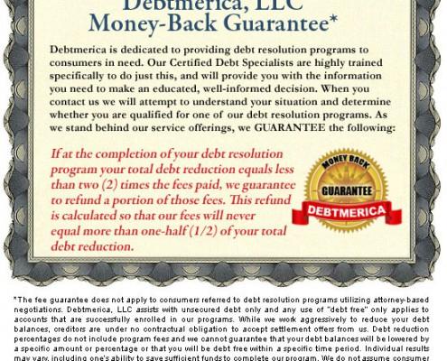 Debtmerica Fee Guarantee